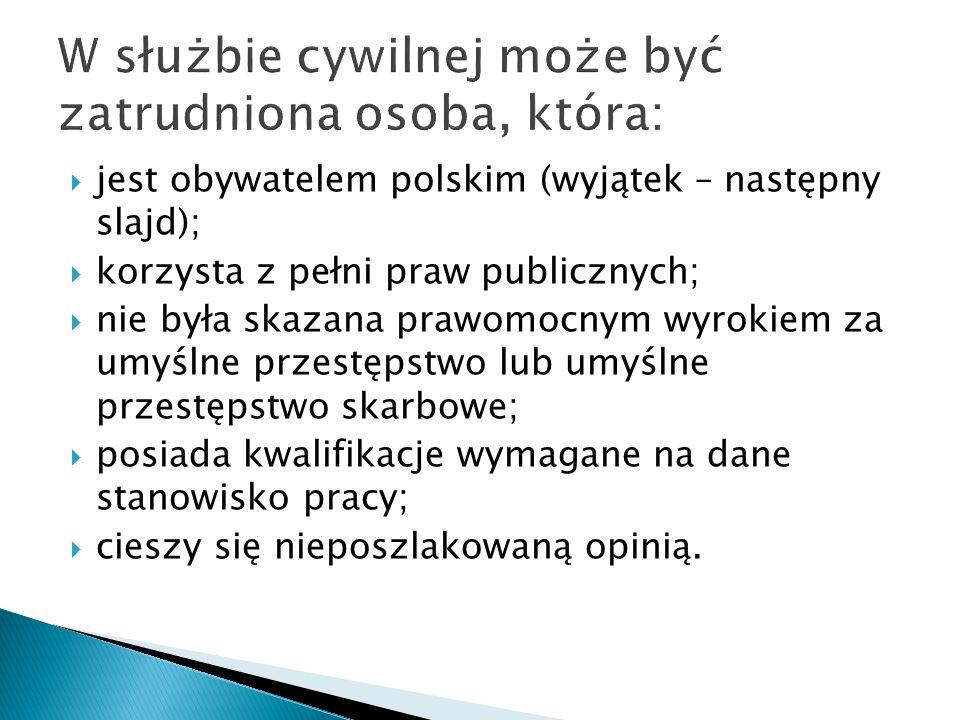 jest obywatelem polskim (wyjątek – następny slajd);  korzysta z pełni praw publicznych;  nie była skazana prawomocnym wyrokiem za umyślne przestęp