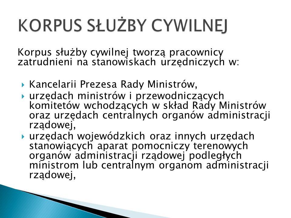 Korpus służby cywilnej tworzą pracownicy zatrudnieni na stanowiskach urzędniczych w:  Kancelarii Prezesa Rady Ministrów,  urzędach ministrów i przew