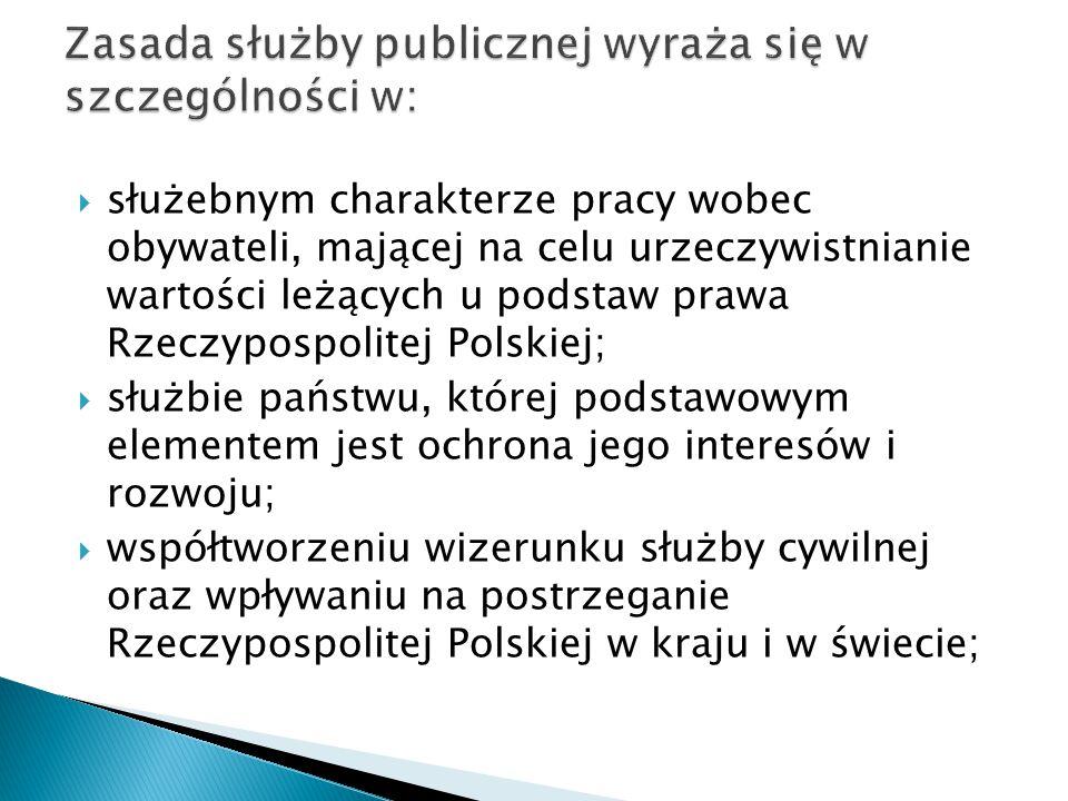  służebnym charakterze pracy wobec obywateli, mającej na celu urzeczywistnianie wartości leżących u podstaw prawa Rzeczypospolitej Polskiej;  służbi