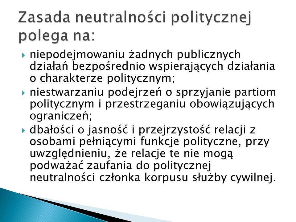  niepodejmowaniu żadnych publicznych działań bezpośrednio wspierających działania o charakterze politycznym;  niestwarzaniu podejrzeń o sprzyjanie p