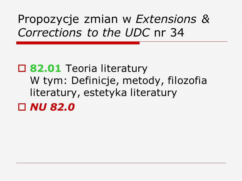 Propozycje zmian w Extensions & Corrections to the UDC nr 34  82.01 Teoria literatury W tym: Definicje, metody, filozofia literatury, estetyka literatury  NU 82.0
