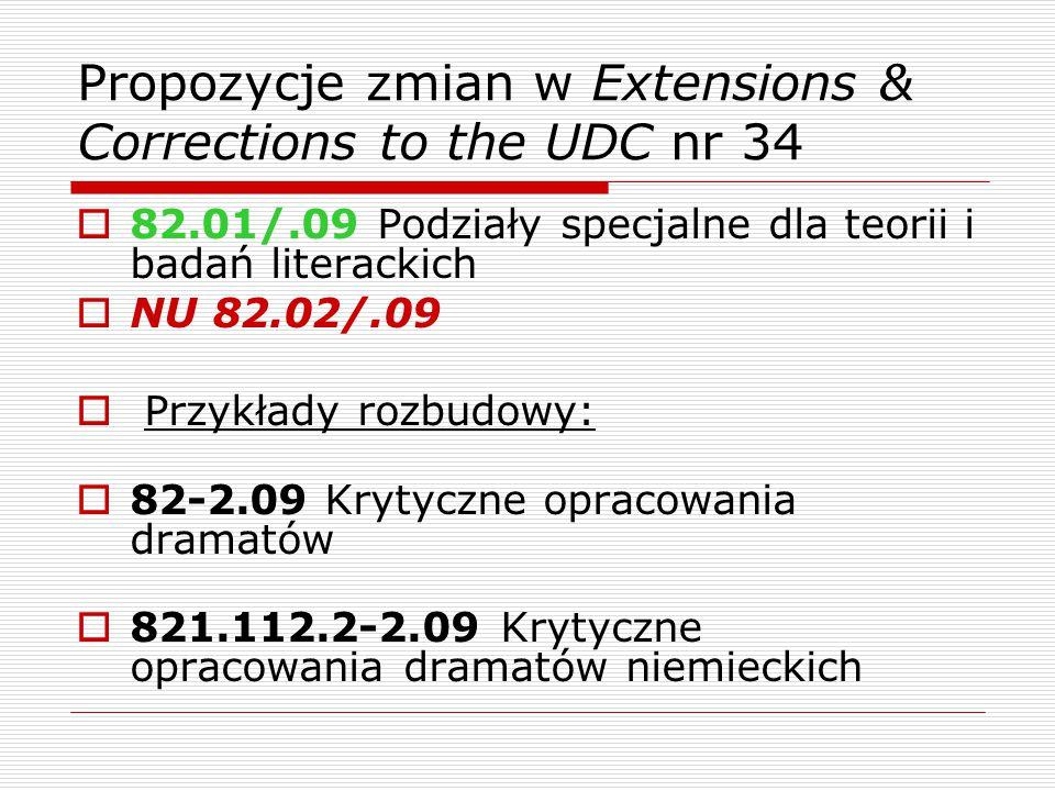 Propozycje zmian w Extensions & Corrections to the UDC nr 34  82.01/.09 Podziały specjalne dla teorii i badań literackich  NU 82.02/.09  Przykłady rozbudowy:  82-2.09 Krytyczne opracowania dramatów  821.112.2-2.09 Krytyczne opracowania dramatów niemieckich
