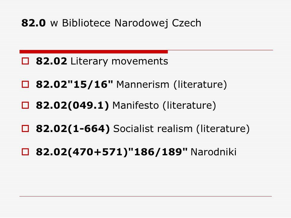 82.0 w Bibliotece Narodowej Czech  82.02 Literary movements  82.02 15/16 Mannerism (literature)  82.02(049.1) Manifesto (literature)  82.02(1-664) Socialist realism (literature)  82.02(470+571) 186/189 Narodniki