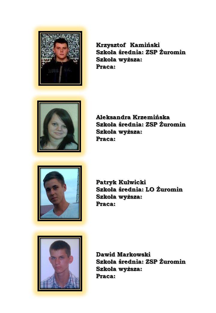 Klaudia Ziółkowska Szkoła średnia: ZSP Żuromin Szkoła wyższa: Praca: