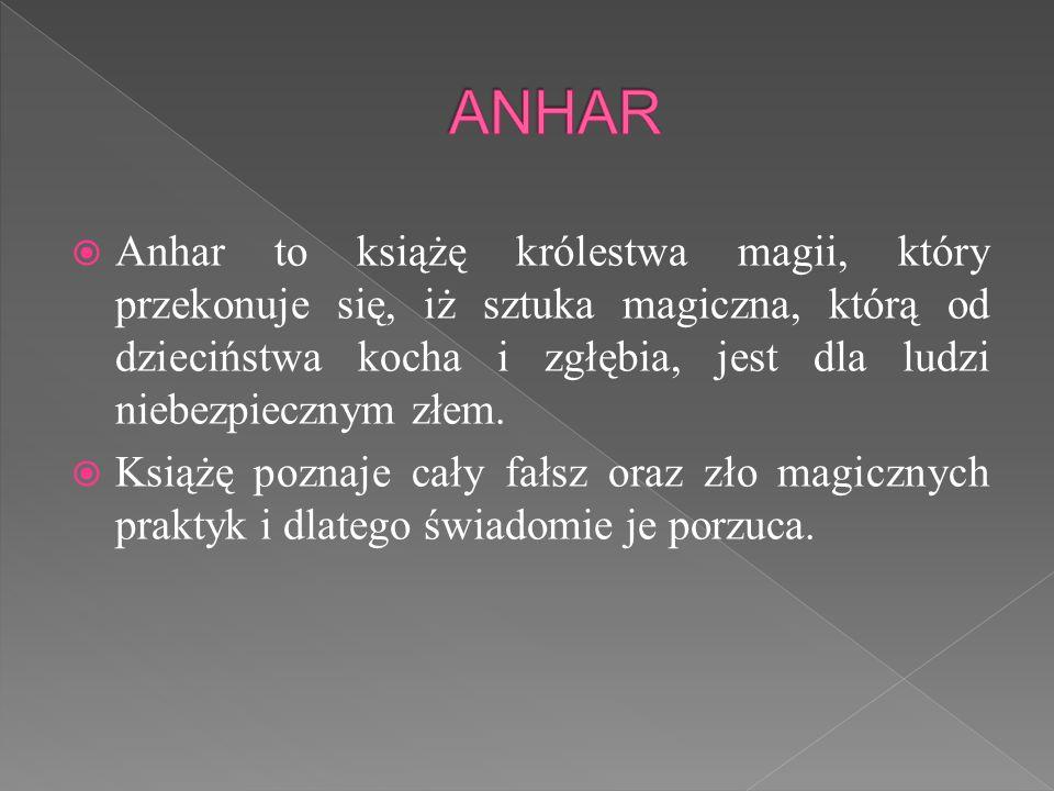  Anhar to książę królestwa magii, który przekonuje się, iż sztuka magiczna, którą od dzieciństwa kocha i zgłębia, jest dla ludzi niebezpiecznym złem.