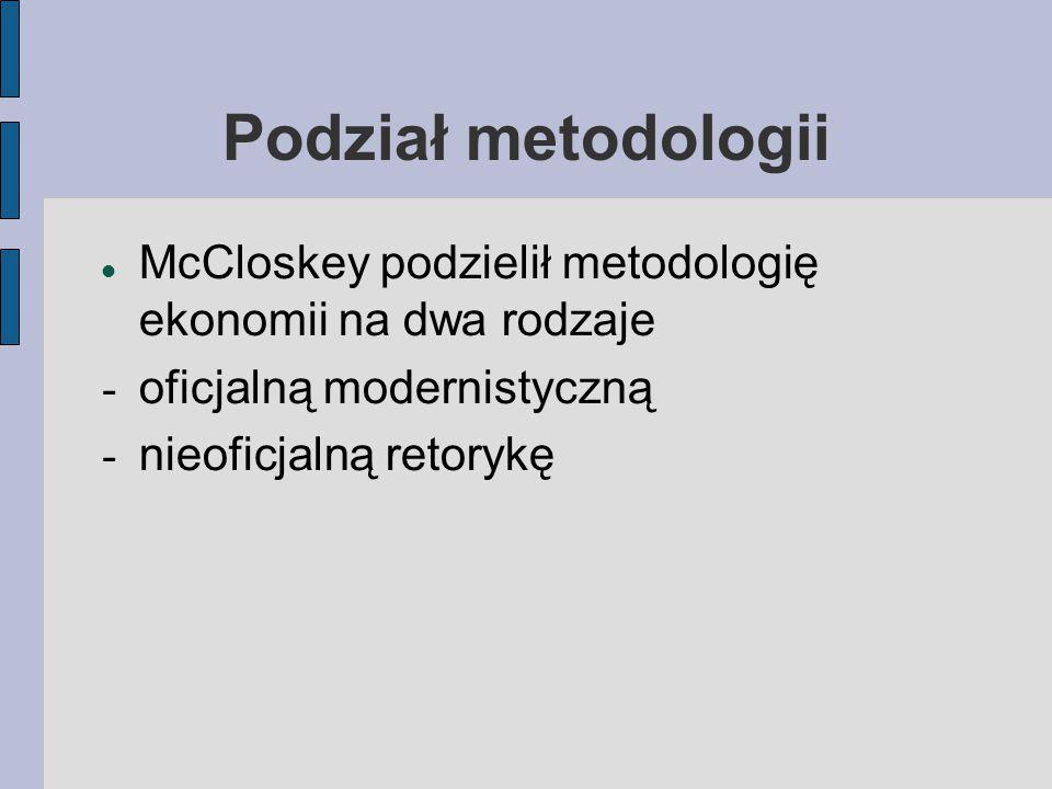 Podział metodologii McCloskey podzielił metodologię ekonomii na dwa rodzaje - oficjalną modernistyczną - nieoficjalną retorykę