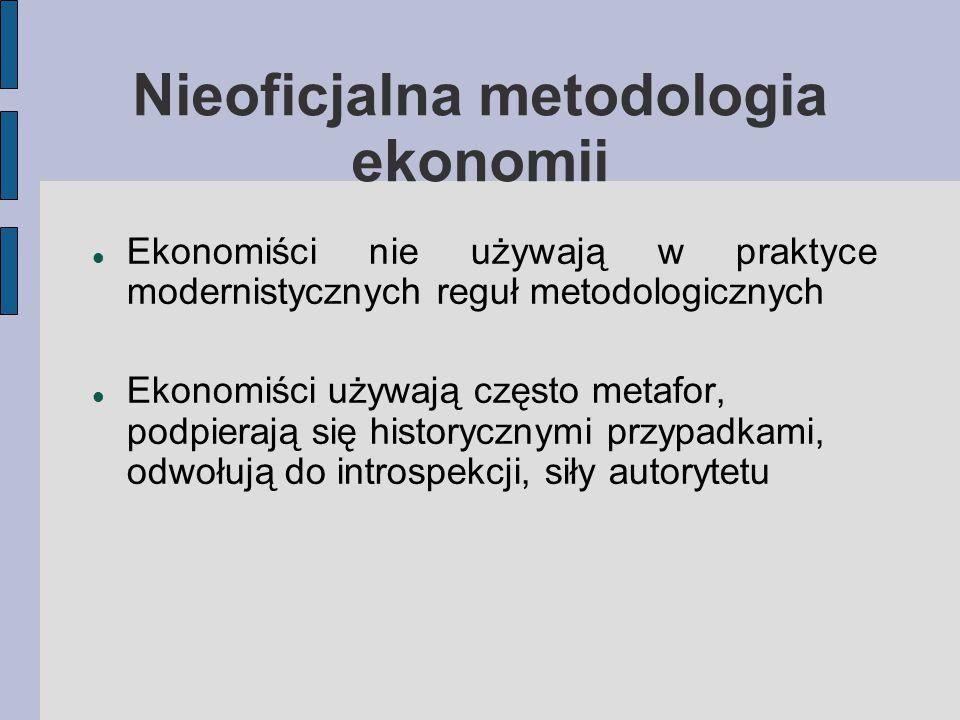Nieoficjalna metodologia ekonomii Ekonomiści nie używają w praktyce modernistycznych reguł metodologicznych Ekonomiści używają często metafor, podpierają się historycznymi przypadkami, odwołują do introspekcji, siły autorytetu