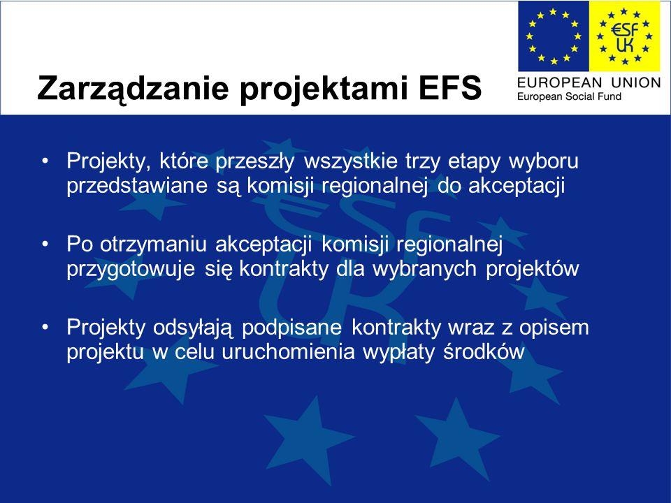 Zarządzanie projektami EFS Projekty, które przeszły wszystkie trzy etapy wyboru przedstawiane są komisji regionalnej do akceptacji Po otrzymaniu akceptacji komisji regionalnej przygotowuje się kontrakty dla wybranych projektów Projekty odsyłają podpisane kontrakty wraz z opisem projektu w celu uruchomienia wypłaty środków