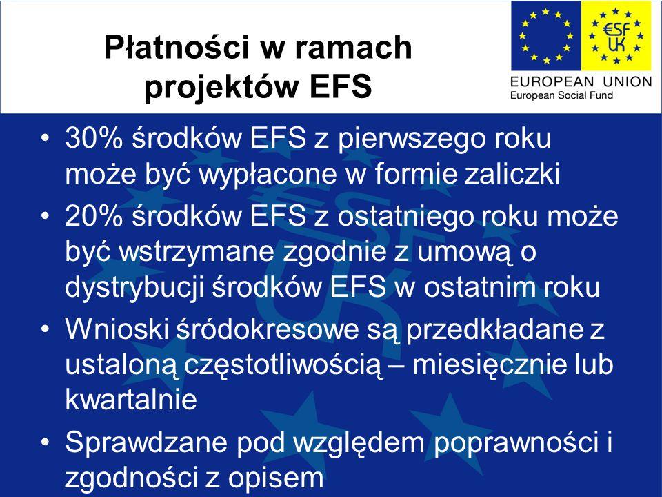 Płatności w ramach projektów EFS 30% środków EFS z pierwszego roku może być wypłacone w formie zaliczki 20% środków EFS z ostatniego roku może być wst