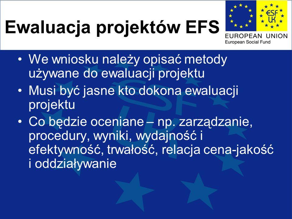 Ewaluacja projektów EFS We wniosku należy opisać metody używane do ewaluacji projektu Musi być jasne kto dokona ewaluacji projektu Co będzie oceniane – np.