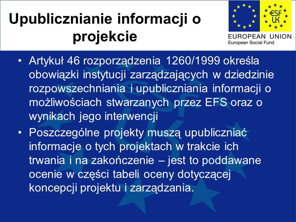 Upublicznianie informacji o projekcie Artykuł 46 rozporządzenia 1260/1999 określa obowiązki instytucji zarządzających w dziedzinie rozpowszechniania i