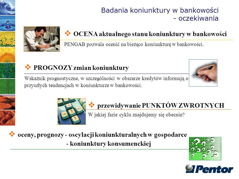 Badania koniunktury w bankowości - oczekiwania  OCENA aktualnego stanu koniunktury w bankowości PENGAB pozwala ocenić na bieżąco koniunkturę w bankow