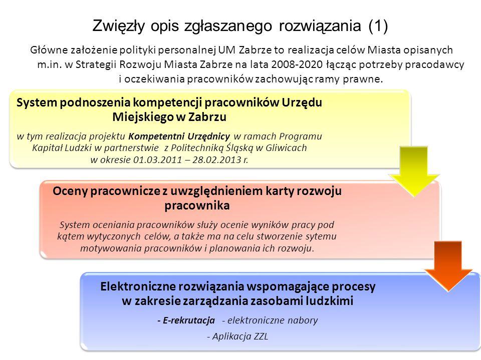 Zwięzły opis zgłaszanego rozwiązania (1) Główne założenie polityki personalnej UM Zabrze to realizacja celów Miasta opisanych m.in. w Strategii Rozwoj