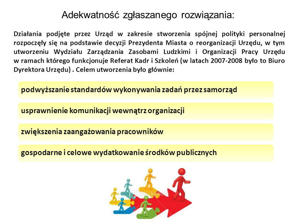 Adekwatność zgłaszanego rozwiązania: Działania podjęte przez Urząd w zakresie stworzenia spójnej polityki personalnej rozpoczęły się na podstawie decy