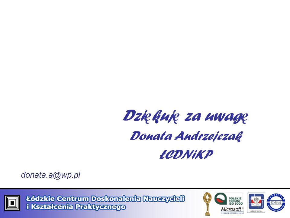 Dzi ę kuj ę za uwag ę Donata Andrzejczak ŁCDNiKP donata.a@wp.pl