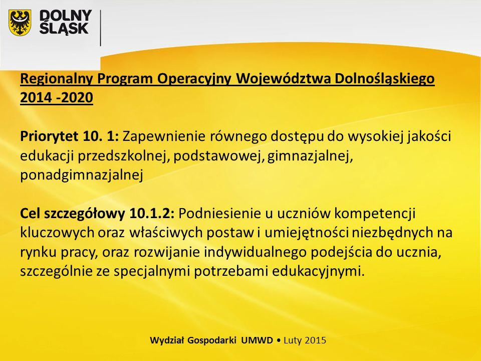Regionalny Program Operacyjny Województwa Dolnośląskiego 2014 -2020 Priorytet 10.
