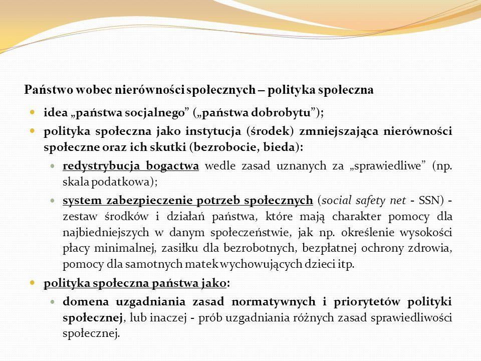 """Państwo wobec nierówności społecznych – polityka społeczna idea """"państwa socjalnego"""" (""""państwa dobrobytu""""); polityka społeczna jako instytucja (środek"""
