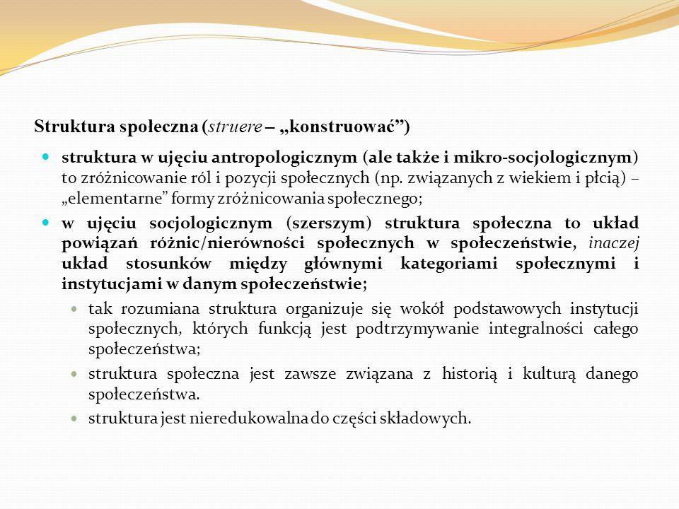 """Struktura społeczna (struere – """"konstruować"""") struktura w ujęciu antropologicznym (ale także i mikro-socjologicznym) to zróżnicowanie ról i pozycji sp"""
