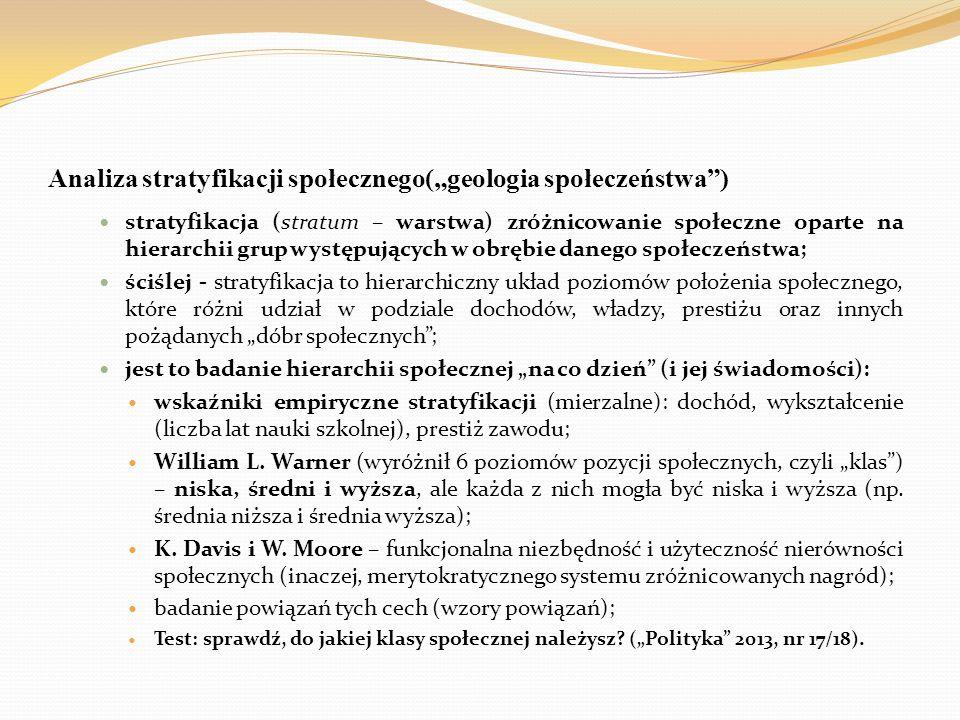 """Analiza stratyfikacji społecznego(""""geologia społeczeństwa"""") stratyfikacja (stratum – warstwa) zróżnicowanie społeczne oparte na hierarchii grup występ"""