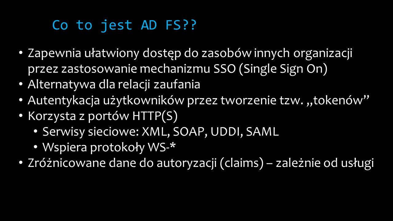 Co to jest AD FS?? Zapewnia ułatwiony dostęp do zasobów innych organizacji przez zastosowanie mechanizmu SSO (Single Sign On) Alternatywa dla relacji