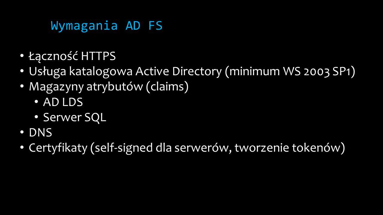 Wymagania AD FS Łączność HTTPS Usługa katalogowa Active Directory (minimum WS 2003 SP1) Magazyny atrybutów (claims) AD LDS Serwer SQL DNS Certyfikaty (self-signed dla serwerów, tworzenie tokenów)