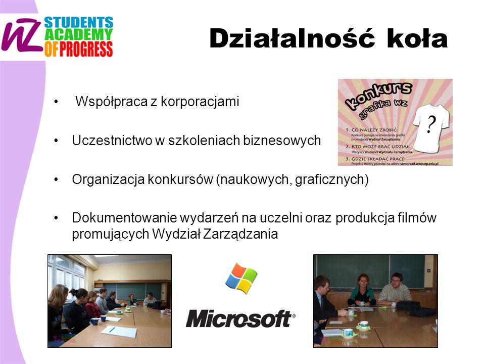 Działalność koła Współpraca z korporacjami Uczestnictwo w szkoleniach biznesowych Organizacja konkursów (naukowych, graficznych) Dokumentowanie wydarzeń na uczelni oraz produkcja filmów promujących Wydział Zarządzania