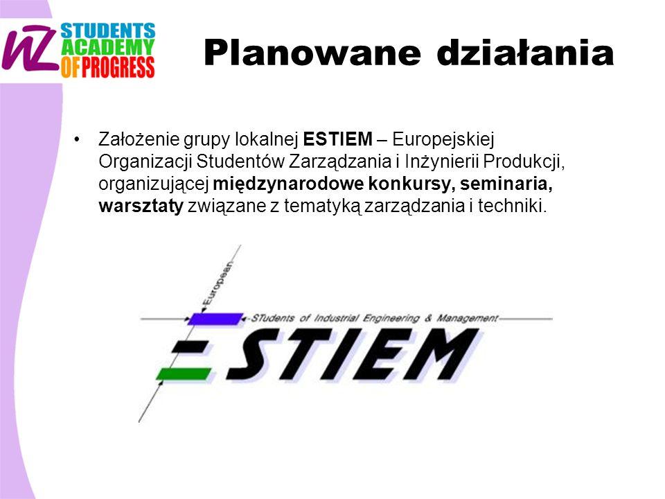 Planowane działania Założenie grupy lokalnej ESTIEM – Europejskiej Organizacji Studentów Zarządzania i Inżynierii Produkcji, organizującej międzynarod