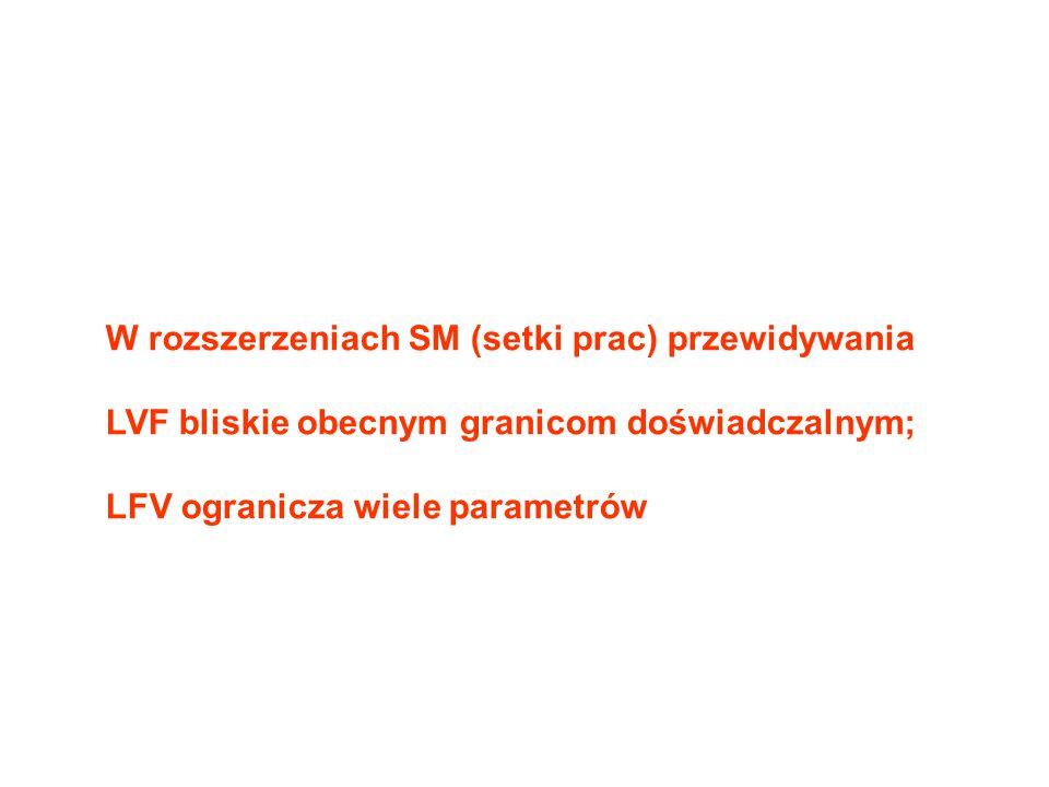 W rozszerzeniach SM (setki prac) przewidywania LVF bliskie obecnym granicom doświadczalnym; LFV ogranicza wiele parametrów