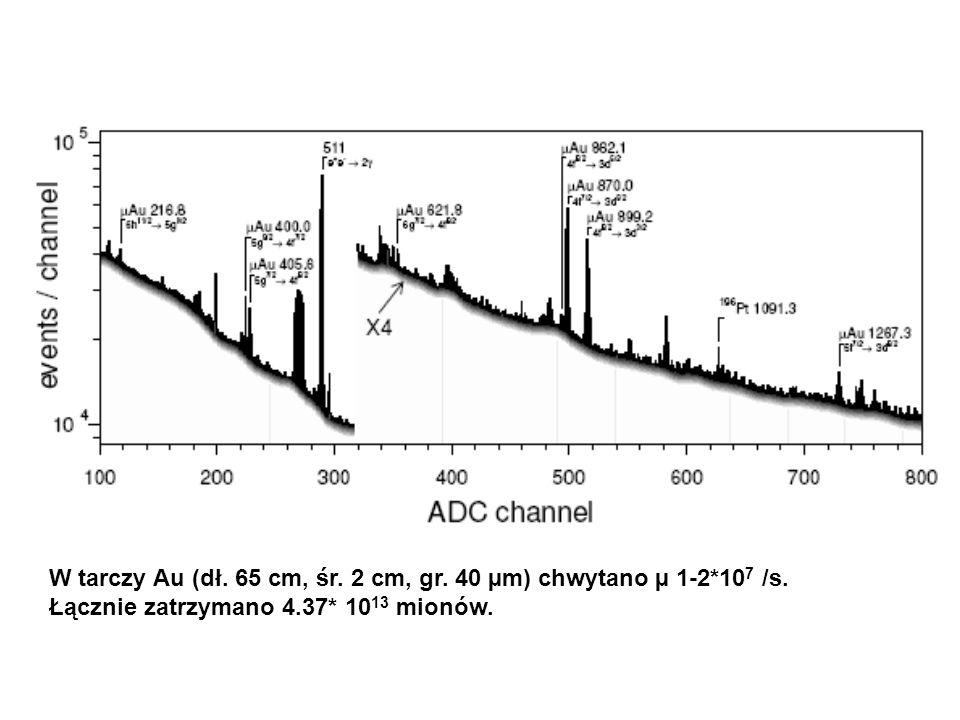 W tarczy Au (dł. 65 cm, śr. 2 cm, gr. 40 µm) chwytano µ 1-2*10 7 /s.