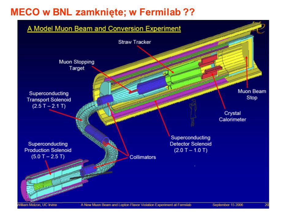 MECO w BNL zamknięte; w Fermilab ??