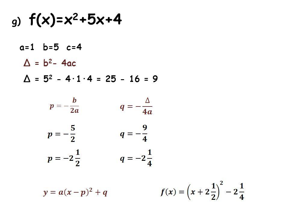 g) f(x)=x 2 +5x+4 a=1 b=5 c=4 Δ = b 2 - 4ac Δ = 5 2 - 4·1·4 = 25 - 16 = 9