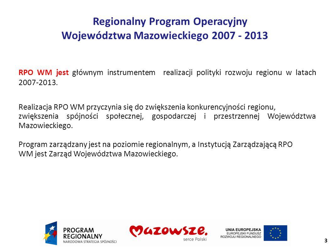 Regionalny Program Operacyjny Województwa Mazowieckiego 2007 - 2013 RPO WM jest głównym instrumentem realizacji polityki rozwoju regionu w latach 2007-2013.