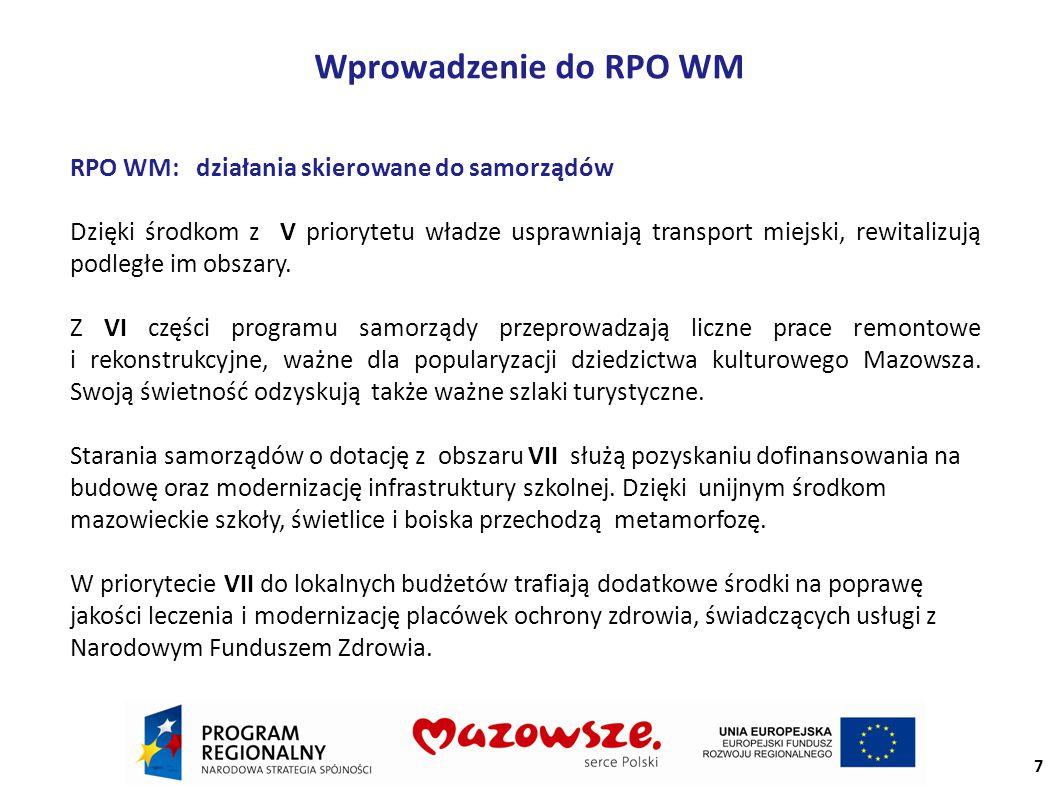 Wprowadzenie do RPO WM RPO WM: działania skierowane do samorządów Dzięki środkom z V priorytetu władze usprawniają transport miejski, rewitalizują podległe im obszary.