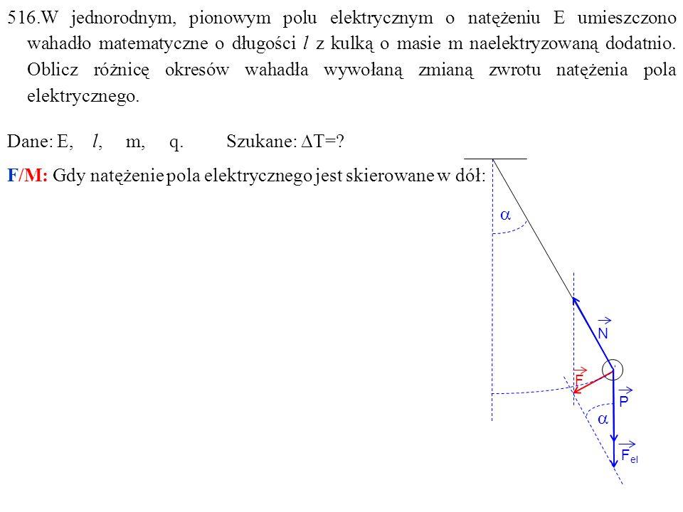 516.W jednorodnym, pionowym polu elektrycznym o natężeniu E umieszczono wahadło matematyczne o długości l z kulką o masie m naelektryzowaną dodatnio.