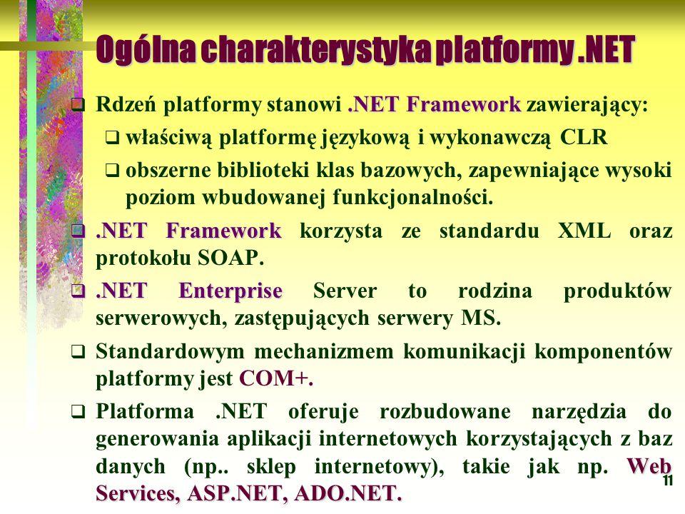 11 Ogólna charakterystyka platformy.NET.NET Framework  Rdzeń platformy stanowi.NET Framework zawierający:  właściwą platformę językową i wykonawczą CLR  obszerne biblioteki klas bazowych, zapewniające wysoki poziom wbudowanej funkcjonalności.