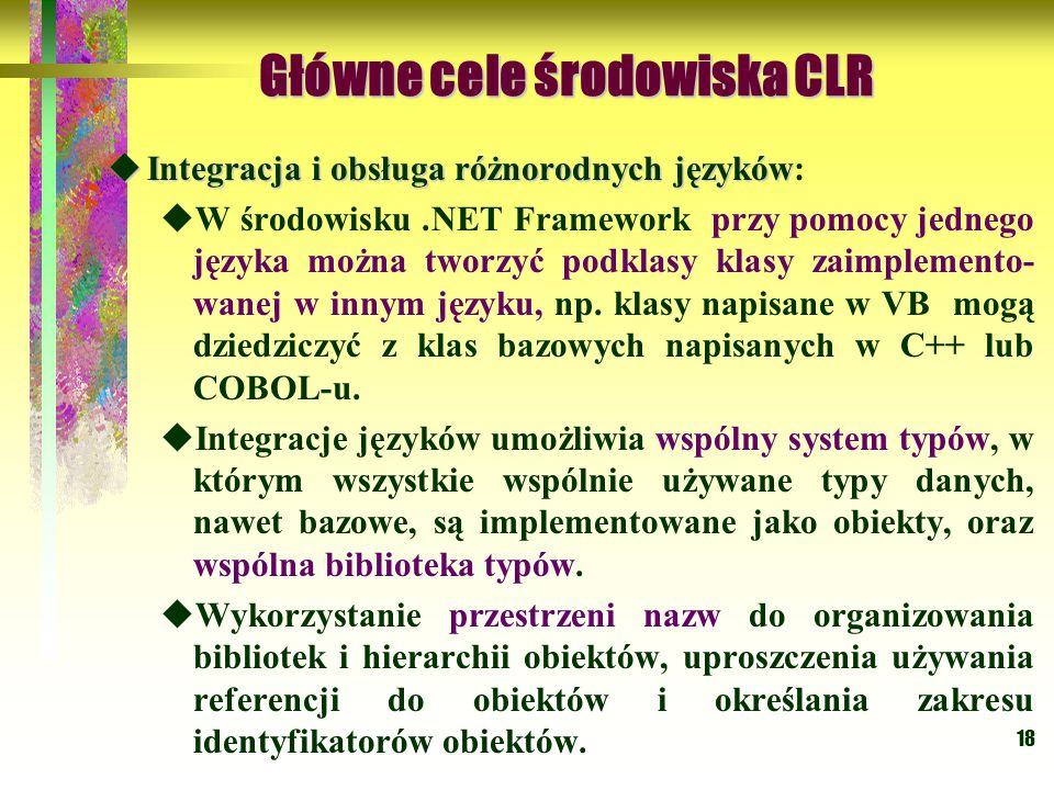 18 Główne cele środowiska CLR Główne cele środowiska CLR  Integracja i obsługa różnorodnych języków  Integracja i obsługa różnorodnych języków:  W środowisku.NET Framework przy pomocy jednego języka można tworzyć podklasy klasy zaimplemento- wanej w innym języku, np.