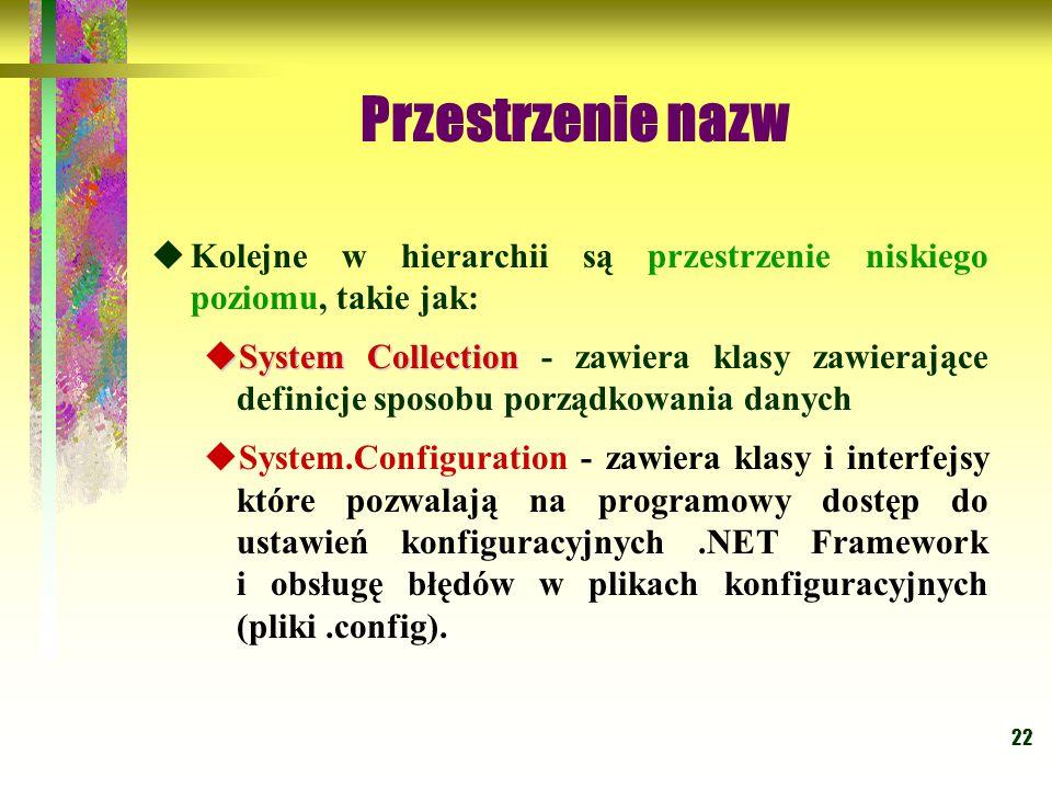 22 Przestrzenie nazw  Kolejne w hierarchii są przestrzenie niskiego poziomu, takie jak:  System Collection  System Collection - zawiera klasy zawierające definicje sposobu porządkowania danych  System.Configuration - zawiera klasy i interfejsy które pozwalają na programowy dostęp do ustawień konfiguracyjnych.NET Framework i obsługę błędów w plikach konfiguracyjnych (pliki.config).