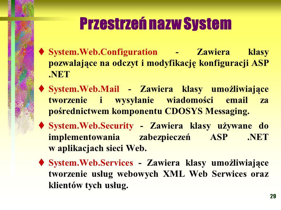 29 Przestrzeń nazw System  System.Web.Configuration - Zawiera klasy pozwalające na odczyt i modyfikację konfiguracji ASP.NET  System.Web.Mail - Zawiera klasy umożliwiające tworzenie i wysyłanie wiadomości email za pośrednictwem komponentu CDOSYS Messaging.