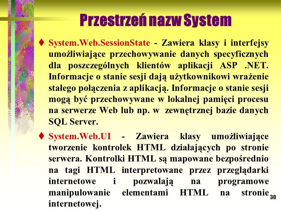 30 Przestrzeń nazw System  System.Web.SessionState - Zawiera klasy i interfejsy umożliwiające przechowywanie danych specyficznych dla poszczególnych klientów aplikacji ASP.NET.