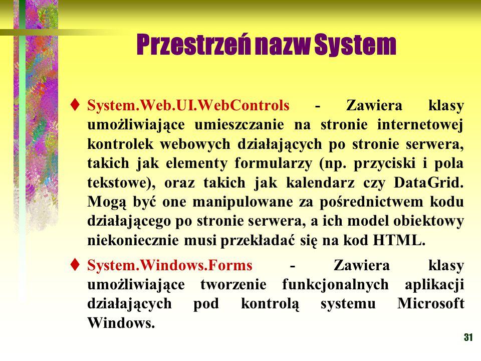 31 Przestrzeń nazw System  System.Web.UI.WebControls - Zawiera klasy umożliwiające umieszczanie na stronie internetowej kontrolek webowych działających po stronie serwera, takich jak elementy formularzy (np.