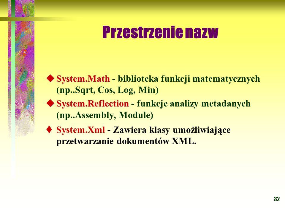 32  System.Math  System.Math - biblioteka funkcji matematycznych (np..Sqrt, Cos, Log, Min)  System.Reflection  System.Reflection - funkcje analizy metadanych (np..Assembly, Module)  System.Xml - Zawiera klasy umożliwiające przetwarzanie dokumentów XML.