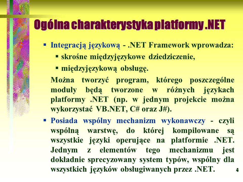 4 Ogólna charakterystyka platformy.NET  Integracją językową -.NET Framework wprowadza:  skrośne międzyjęzykowe dziedziczenie,  międzyjęzykową obsłu