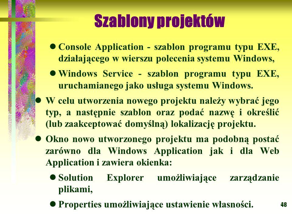 48 Szablony projektów Console Application - szablon programu typu EXE, działającego w wierszu polecenia systemu Windows, Windows Service - szablon programu typu EXE, uruchamianego jako usługa systemu Windows.