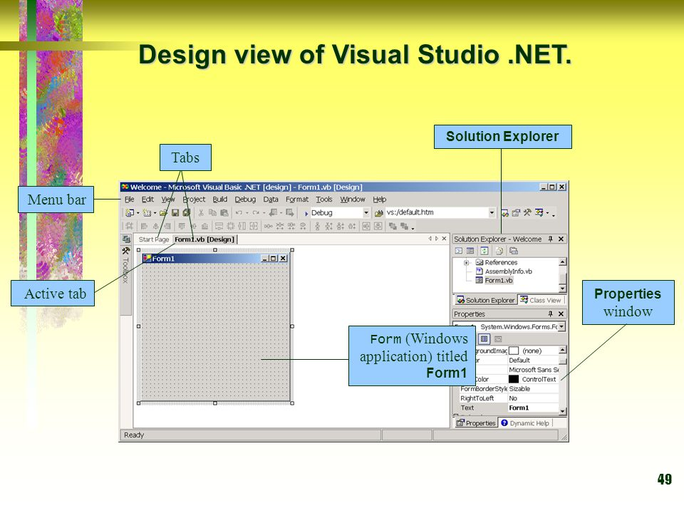 49 Design view of Visual Studio.NET. Tabs Active tab Form (Windows application) titled Form1 Menu bar Solution Explorer Properties window