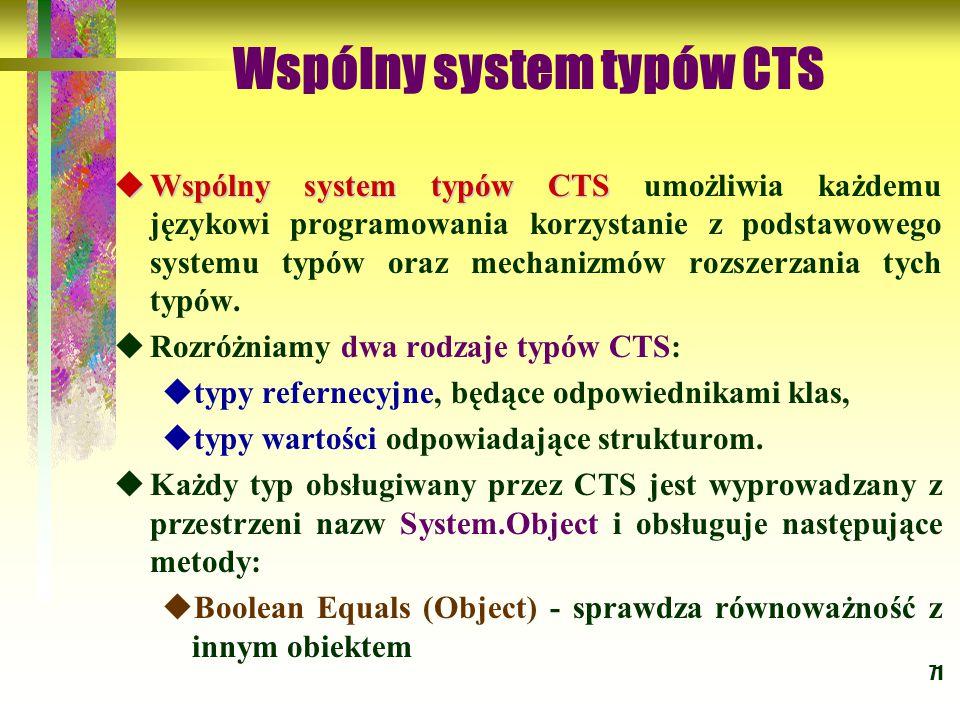 71 Wspólny system typów CTS  Wspólny system typów CTS  Wspólny system typów CTS umożliwia każdemu językowi programowania korzystanie z podstawowego systemu typów oraz mechanizmów rozszerzania tych typów.