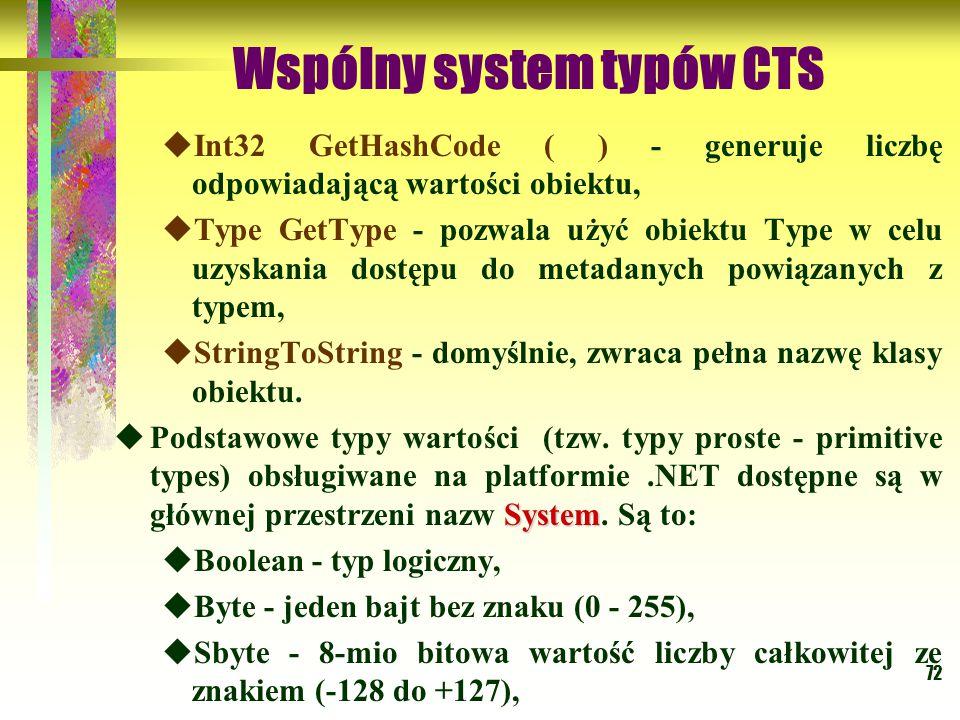 72 Wspólny system typów CTS  Int32 GetHashCode ( ) - generuje liczbę odpowiadającą wartości obiektu,  Type GetType - pozwala użyć obiektu Type w celu uzyskania dostępu do metadanych powiązanych z typem,  StringToString - domyślnie, zwraca pełna nazwę klasy obiektu.