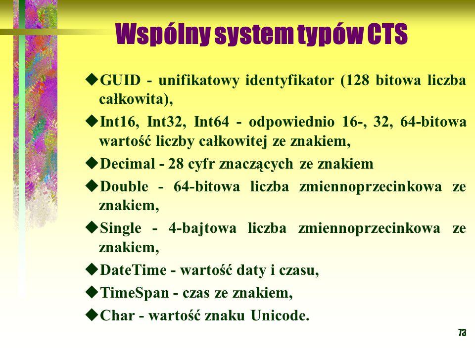 73 Wspólny system typów CTS  GUID - unifikatowy identyfikator (128 bitowa liczba całkowita),  Int16, Int32, Int64 - odpowiednio 16-, 32, 64-bitowa w