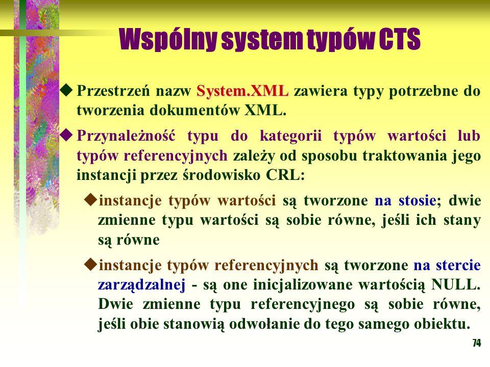 74 Wspólny system typów CTS System.XML  Przestrzeń nazw System.XML zawiera typy potrzebne do tworzenia dokumentów XML.  Przynależność typu do katego