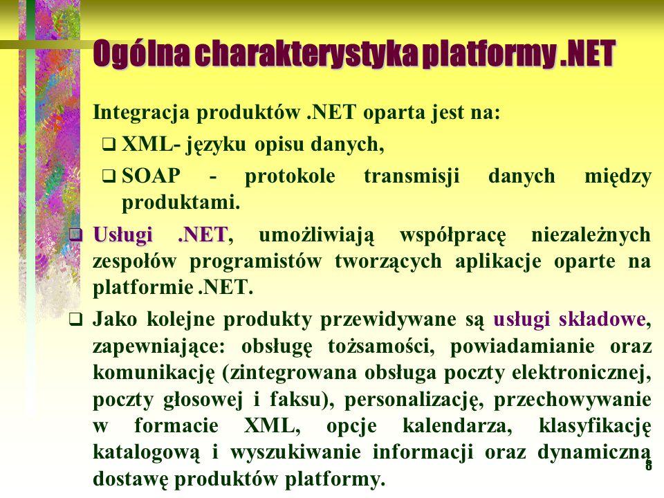 8 Ogólna charakterystyka platformy.NET Integracja produktów.NET oparta jest na:  XML- języku opisu danych,  SOAP - protokole transmisji danych między produktami.