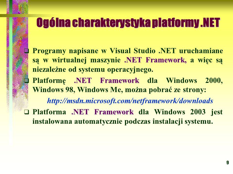 9 Ogólna charakterystyka platformy.NET.NET Framework,  Programy napisane w Visual Studio.NET uruchamiane są w wirtualnej maszynie.NET Framework, a więc są niezależne od systemu operacyjnego..NET Framework  Platformę.NET Framework dla Windows 2000, Windows 98, Windows Me, można pobrać ze strony: http://msdn.microsoft.com/netframework/downloads.NET Framework  Platforma.NET Framework dla Windows 2003 jest instalowana automatycznie podczas instalacji systemu.